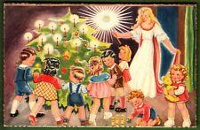 AK, Christkind u. Kinder tanzen fröhlich um den Weihnachtsbaum- blanco- ca. 1960