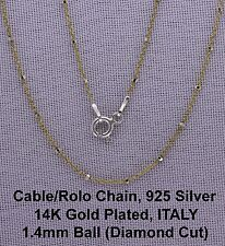 "14K Yellow G/P Over 925 Silver Rolo-Cable Ball Chain 20"",ITALY, 1.4mm Ball C43"