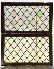 Large Pair of Antique Stained Glass Windows Three (3) Colors (3010)
