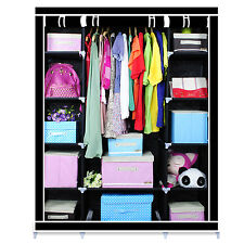 Black Triple Canvas Wardrobe Bedroom Home Furniture Clothes Storage Cupboard