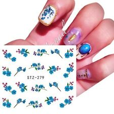Nail Art Water Decals Transfers Stickers Blue Flowers Dried Flower Effect (279)