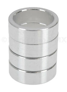 """Bicycle MINI BMX ROAD MTB headset spacers 1"""" threadless (SET of 4) 10mm - SILVER"""
