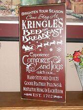KRINGELE'S BED and BREAKFAST primitive wood sign
