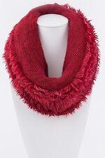 B122 Eternity Magic Soft Red Fur Infinity Cowl Scarf Neck Warmer Sleeve