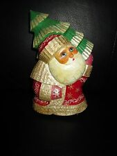 """Russian Solid Wood Carved Hand Painted Santa Claus 6 1/4"""" Tall Signed Unique"""