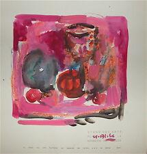 Yvette Alde gouache sur papier signée 1955 kermesse aux étoiles art Abstrait