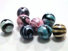 12 X 16 Mm de mezcla de color acrílico rayado redonda granos de joyería artesanal Molduras L171