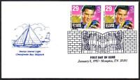 Elvis Presley #2721 (Pair) Chesapeake Cachet FDC Music Cancel Unadd (LOT 312)