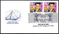 Elvis Presley #2721 (Pair) Chesapeake Cachet FDC Music Cancel Unadd (LOT 312)