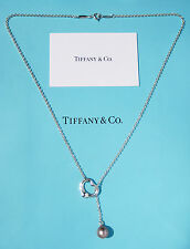 Tiffany & Co Silver Elsa Peretti Open Heart LARGE Pink Pearl Lariat Necklace