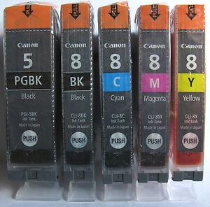 Canon Genuine PGI-5Bk CLI-8Bk CLI-8C CLI-8M CLI-8Y Set. New