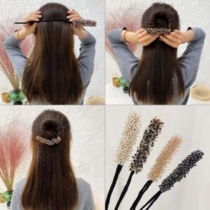 Womens Clear Crystal Maruko Head Hairpins Fashion Rhinestone Pearl Hair Clips