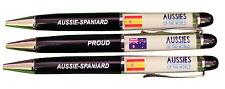 PROUD AUSSIE - SPANIARD AUSTRALIAN METAL PEN SPAIN SOUVENIR GIFT FLOATING FLAGS