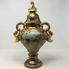 """Rare Antique Vintage Royal Satsuma Heavy Raised Gold Large 19"""" Vase Urn Decor"""