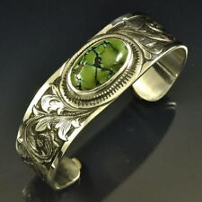 Hand Engraved Silver Cuff with Turquoise Center Stone
