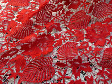 Red Leaf Floral Guipure Lace Fabric Corded French Embroidery Venise Lace Fabric