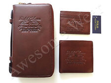 New Ralph Lauren Polo Brown Leather Logo 3 Piece Organizer Wallet & Card Case