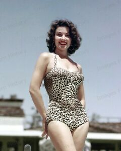 8x10 Print Linda Cristal Sexy Pin Up Wearing Leopard Bathing Suit 1965 #AALC