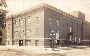RICHLAND CENTER, WI, AUDITORIUM, MOVIE POSTER ON BLDG, REAL PHOTO PC used 1915