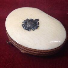 XIXe porte monnaie cuir tissus chiffres initiales MB purse 19th
