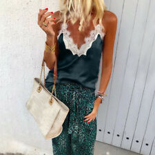 Womens Summer Tank Top Cami Lace Casual V-Neck Sleeveless Camisole Vest T-Shirts