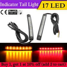2x 17 LED Flexible Motorcycle Tail Light Strip Brake Stop Turn Signal Amber+Red