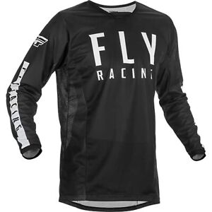 2021 Fly Racing Kinetic Mesh Jersey Adult Black/White Motocross Offroad MX MTB