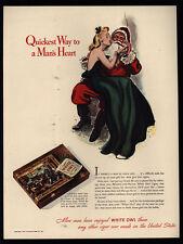 1940 Sexy Woman Sits On Santa Claus Lap - Smokes WHITE OWL Cigars VINTAGE AD