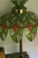 Tiffany Style Stained Glass or Shell Palm tree Lamp  Vintage Hollywood Regency