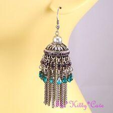 Plata Antigua Etnico India Morado & Verde Azulado Araña de Cristal Bollywood