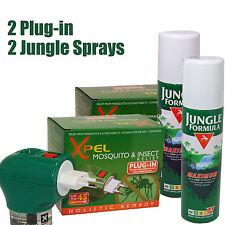 Mosquito 2x Xpel Plug-in Repellent Liquid And 2x Jungle Formula Sprays 50% Deet