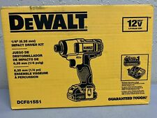 "Lot of 2 - Dewalt DCF815S1 1/4"" Cordless Battery Powered Impact Driver Kit (NEW)"