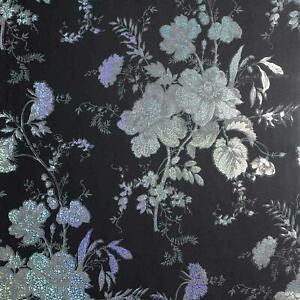 Arhouse Black Grey Charcoal Wallpaper 294806 Bijoux Holographic Floral Wallpaper
