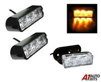2x Amber 3 LED Car Truck Emergency Beacon Lights Hazard Flash Strobe Bar Warning