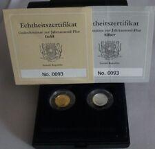 Somalia 1000 Shillings Silber + 4000  Shillings  Gold, 2005 PP Tsunami-Diptychon