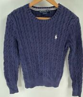 Ralph Lauren Golf Womens Pullover Sweater Blue Cotton Cable Knit Crew Neck M