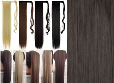 UK Ladies Wrap On Ponytail Clip in Pony Tail Real Thick Hair Extensions Brown