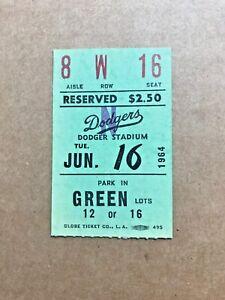 Don Drysdale Win #132 June 16 1964 6/16/64 Dodgers Milwaukee Braves Ticket Stub