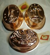 Patriotic VTG American Eagle, Liberty Bell Statue Copper Baking Jello Mold Wall