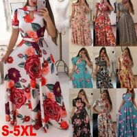 Womens Boho Floral Short Sleeve Maxi Dresses Ladies Summer Casual Fashion Dress