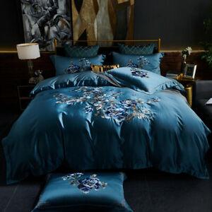 4pcs Bedding Set Luxury Real Silk & Cotton Embroidery Duvet cover set flat sheet