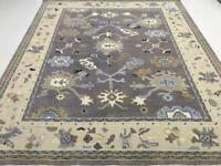 8x10 Handknotted Oushak Fine Wool Rug Blue, Gray ,Ivory, Beige Color 1/2' Pile