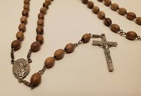 VINTAGE SILVER TONE CROSS & WOOD BEADS ITALY RELIQUARY ROSARY