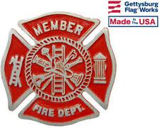 Fire Department Aluminum Grave Marker, Cemetery Memorial Flag Holder Made In USA