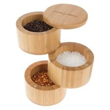 Wooden Bamboo Spice Box Holds 3 Herbs Spices Keep Fresh Eco Friendly Holder