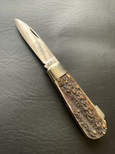 VINTAGE KNIFE 1950's-1970's HUGO KOLLER GERMAN SINGLE BLADE LOCKBACK KNIFE STAG