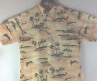 CAMPIA MODA MENS GREEN Brown TROPICAL HAWAIIAN SHIRT SZ XXL Button Up Shirt