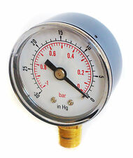 Vacuum Gauge 50mm Dial -30*Hg & -1/0 Bar 1/4 BSPT BOTTOM and/or  Hose Tails