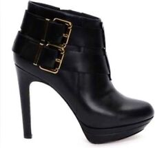 NEW WOMEN DIESEL BLACK LEATHER BUCKLE BELTED ANKLE BOOTS HEELS SIZE 7.5  8