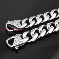 "7-11"" Stainless Steel Heavy Silver 13/15mm Men Biker Curb Bracelet Casting Clasp"